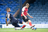 Andy Williams, Cheltenham Town slides the ball acroasa goal despite the attempts of Timothee Dieng, Southend United to block during Southend United vs Cheltenham Town, Sky Bet EFL League 2 Football at Roots Hall on 17th October 2020
