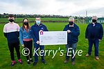 Barry Leen who won the Crotta GAA Lotto received the sum €19,100 from chairman Paddy Weir on Saturday. L to r: Gavin and Joanne O'Hanlon, Barry Lean, Paddy Weir (Chairman Crotta GAA) and Mike Parker (PRO Crotta GAA).