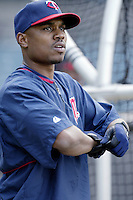 Jacque Jones of the Minnesota Twins before a 2002 MLB season game against the Los Angeles Angels at Angel Stadium, in Anaheim, California. (Larry Goren/Four Seam Images)