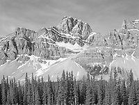"""""""View From The Highway"""" <br /> Banff National Park; Alberta, Canada<br /> <br /> Numerous splendid views of the Canadian Rockies can be seen from the highway in Banff National Park. A nice pullout made it easy to record this black and white photograph."""