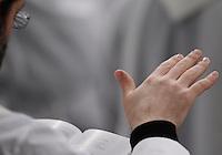 Sacerdoti durante la Messa del Crisma in occasione del Giovedi' Santo celebrata da  Papa Francesco nella Basilica di San Pietro, Citta' del Vaticano, 24 marzo 2016.<br /> Priests attend the Holy Thursday Chrism mass celebrated by Pope Francis in St. Peter's Basilica at the Vatican, 24 March 2016.<br /> UPDATE IMAGES PRESS/Isabella Bonotto<br /> <br /> STRICTLY ONLY FOR EDITORIAL USE