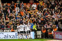VALENCIA, SPAIN - JANUARY 3: Valencia team celebrating a goal during BBVA LEAGUE match between Valencia C.F. and Real Madrid at Mestalla Stadium on January 3, 2015 in Valencia, Spain