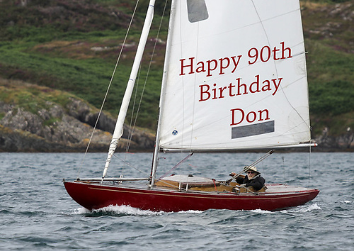 Don on the big day in Glandore at the helm of his vintage Dragon Gypsy, which is only a couple of years younger than he is