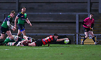 Friday 6th March 2020 | Armagh RFC vs Ballynahinch RFC<br /> <br /> Armagh scrum half Gerard Treanor scores during the Bank Of Ireland Ulster Senior Cup Final between the City of Armagh RFC and Ballynahinch RFC at Kingspan Stadium, Ravenhill Park, Belfast, Northern Ireland. Photo by John Dickson / DICKSONDIGITAL
