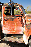 Close-up of details on old, rusted truck