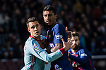 Iago Aspas Juncal of RC Celta de Vigo (L) fights for position with Paulinho Maciel of FC Barcelona (R) during the La Liga 2017-18 match between FC Barcelona and RC Celta de Vigo at Camp Nou Stadium on 02 December 2017 in Barcelona, Spain. Photo by Vicens Gimenez / Power Sport Images