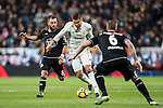 Carlos Henrique Casemiro (c) of Real Madrid battles for the ball with Emre Colak (l) of RC Deportivo La Coruna during the La Liga match between Real Madrid and RC Deportivo La Coruna at the Santiago Bernabeu Stadium on 10 December 2016 in Madrid, Spain. Photo by Diego Gonzalez Souto / Power Sport Images