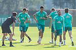 15.09.2020, Trainingsgelaende am wohninvest WESERSTADION - Platz 12, Bremen, GER, 1.FBL, Werder Bremen Training<br /> <br /> Aufwaermtraining<br /> Henrik Frach (Athletik-Trainer SV Werder Bremen )<br /> Marco Friedl (Werder Bremen #32)<br /> Leonardo Bittencourt  (Werder Bremen #10)<br /> Stefanos Kapino (Werder Bremen #27)<br /> Ludwig Augustinsson (Werder Bremen #05)<br /> <br /> <br /> Foto © nordphoto / Kokenge