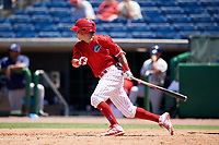 Clearwater Threshers third baseman Jose Gomez (3) follows through on a swing during a game against the Fort Myers Miracle on April 25, 2018 at Spectrum Field in Clearwater, Florida.  Clearwater defeated Fort Myers 9-5. (Mike Janes/Four Seam Images)