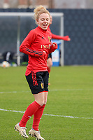 Charlotte Tison pictured during the training session of the Belgian Women's National Team ahead of a friendly female soccer game between the national teams of Germany and Belgium , called the Red Flames in a pre - bid tournament called Three Nations One Goal with the national teams from Belgium , The Netherlands and Germany towards a bid for the hosting of the 2027 FIFA Women's World Cup ,on 19th of February 2021 at Proximus Basecamp. PHOTO: SEVIL OKTEM | SPORTPIX.BE