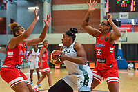 Denise Solis (7) of Puerto Rico , Aischa Belarabe (9) of Nigeria , Gabby Zapata (32) of Puerto Rico pictured during a basketball game between Nigeria and Puerto Rico on Friday 28 th of May 2021 in Kortrijk , Belgium . PHOTO SPORTPIX.BE   SPP   STIJN AUDOOREN