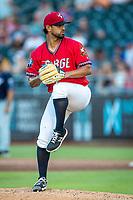 Wichita Wind Surge pitcher Jason García (21) pitching against the Northwest Arkansas Naturals at Riverfront Stadium on July 9, 2021 in Wichita, Kansas. (William Purnell/Four Seam Images)