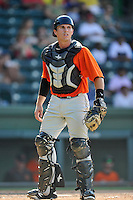 Catcher Matt Pare (28) of the Augusta GreenJackets in a game against the Greenville Drive on Sunday, June 12, 2016, at Fluor Field at the West End in Greenville, South Carolina. Greenville won, 11-8. (Tom Priddy/Four Seam Images)