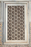 """Agra, India.   Geometric Window Design,  Itimad-ud-Dawlah, Mausoleum of Mirza Ghiyas Beg.  The tomb is sometimes referred to as the """"Baby Taj."""""""