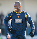 Albion's Marvin Andrews responds to taunts from the Arbroath fans.