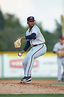 Danville Braves starting pitcher Darius Vines (23) in action against the Burlington Royals at Burlington Athletic Stadium on July 13, 2019 in Burlington, North Carolina. The Royals defeated the Braves 5-2. (Brian Westerholt/Four Seam Images)