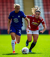 6th September 2020; Leigh Sports Village, Lancashire, England; Women's English Super League, Manchester United Women versus Chelsea Women; Joanna Andersson of Chelsea Women under pressure