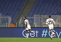 Football, Serie A: AS Roma - Cagliari calcio, Olympic stadium, Rome, December 23, 2020. <br /> Cagliari's captain Joao Pedro (l) celebrates after scoring with his teammate Gabriele Zappa (r) during the Italian Serie A football match between Roma and Cagliari at Rome's Olympic stadium, on December 23, 2020.  <br /> UPDATE IMAGES PRESS/Isabella Bonotto