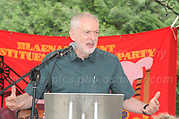 "Jeremy Corbyn makes a passionate speech at ""The Bevan Festival"" in Bedwetlty Park, Tredegar, Gwent, during celebrating the 70th Anniversary of the National Health Service. <br /> <br /> Tredegar, South Wales, Sunday 1st July 2018 <br /> <br /> <br /> Jeff Thomas Photography -  www.jaypics.photoshelter.com - <br /> e-mail swansea1001@hotmail.co.uk -<br /> Mob: 07837 386244 -"