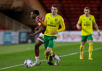 Middlesbrough's Sam Folarin is fouled by Norwich City's Jacob Lungi Sorensen<br /> <br /> Photographer Alex Dodd/CameraSport<br /> <br /> The EFL Sky Bet Championship - Middlesbrough v Norwich City - Saturday 21st November 2020 - Riverside Stadium - Middlesbrough<br /> <br /> World Copyright © 2020 CameraSport. All rights reserved. 43 Linden Ave. Countesthorpe. Leicester. England. LE8 5PG - Tel: +44 (0) 116 277 4147 - admin@camerasport.com - www.camerasport.com