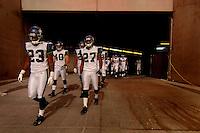 Nov. 6, 2005; Tempe, AZ, USA; Cornerback (23) Marcus Trufant and cornerback (27) Jordan Babineaux of the Seattle Seahawks lead their team out of the tunnel against the Arizona Cardinals at Sun Devil Stadium. Mandatory Credit: Mark J. Rebilas