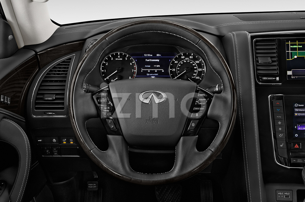 Car pictures of steering wheel view of a 2020 Infiniti QX80 Luxe 5 Door SUV