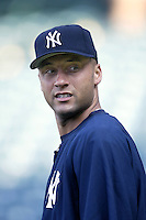 Derek Jeter of the New York Yankees before a 2002 MLB season game against the Los Angeles Angels at Angel Stadium, in Anaheim, California. (Larry Goren/Four Seam Images)