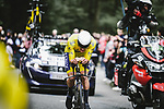 Race leader Yellow Jersey Mathieu Van Der Poel (NED) Alpecin-Fenix in action during Stage 5 of the 2021 Tour de France, an individual time trial running 27.2km from Change to Laval, France. 30th June 2021.  <br /> Picture: A.S.O./Pauline Ballet | Cyclefile<br /> <br /> All photos usage must carry mandatory copyright credit (© Cyclefile | A.S.O./Pauline Ballet)