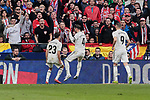 Real Madrid's (L-R) Sergio Reguilon, Sergio Ramos and Karim Benzema celebrate goal during La Liga match between Atletico de Madrid and Real Madrid at Wanda Metropolitano Stadium in Madrid, Spain. February 09, 2019. (ALTERPHOTOS/A. Perez Meca)
