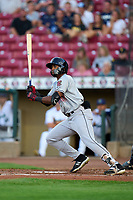 Wisconsin Timber Rattlers Joe Gray Jr. (6) bats during a game against the Cedar Rapids Kernels on August 17, 2021 at Perfect Game Field in Cedar Rapids, Iowa.  (Mike Janes/Four Seam Images)