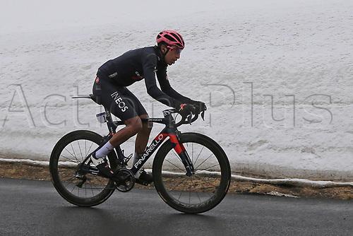24th May 2021, Giau Pass, Italy; Giro d'Italia, Tour of Italy, route stage 16, Sacile to Cortina d'Ampezzo ; Egan Bernal (Ineos Grenadiers) COL who won the stage