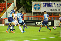 Will De Havilland  of Wycombe Wanderers scores to make it 2-1 during the Friendly match between Aldershot Town and Wycombe Wanderers at the EBB Stadium, Aldershot, England on 26 July 2016. Photo by Alan  Stanford.