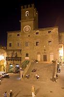 Veduta notturna del Palazzo Comunale di Cortona.<br /> Nocturnal view of the Palazzo Comunale of Cortona, Tuscany.<br /> UPDATE IMAGES PRESS/Riccardo De Luca