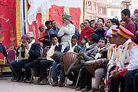Bodhnath, Nepal.  Nepali Orchestra Playing at a Wedding Celebration.