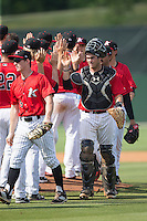 Brett Austin (20) of the Kannapolis Intimidators celebrates with teammates after their victory over the Lakewood BlueClaws at CMC-Northeast Stadium on May 17, 2015 in Kannapolis, North Carolina.  The Intimidators defeated the BlueClaws 4-1.  (Brian Westerholt/Four Seam Images)