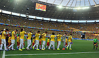 FORTALEZA - BRASIL -04-07-2014. Jugadores de Brasil (BRA) ingresan al campo a los actos protocolarios previo al partido de los cuartos de final con Colombia (COL)  por la Copa Mundial de la FIFA Brasil 2014 jugado en el estadio Castelao de Fortaleza./ Players of  Brazil (BRA) go inside the field before formal events prior the match of the Quarter Finals with Colombia (COL)  for the 2014 FIFA World Cup Brazil played at Castelao stadium in Fortaleza. Photo: VizzorImage / Alfredo Gutiérrez / Contribuidor