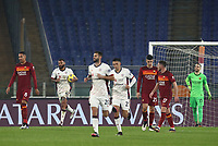 Football, Serie A: AS Roma - Cagliari calcio, Olympic stadium, Rome, December 23, 2020. <br /> Cagliari's captain Joao Pedro (second left) celebrates after scoring his second goal in the match during the Italian Serie A football match between Roma and Cagliari at Rome's Olympic stadium, on December 23, 2020.  <br /> UPDATE IMAGES PRESS/Isabella Bonotto