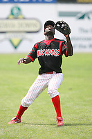 June 22nd 2008:  Third baseman Jermaine Curtis (1) of the Batavia Muckdogs, Class-A affiliate of the St. Louis Cardinals, during a game at Dwyer Stadium in Batavia, NY.  Photo by:  Mike Janes/Four Seam Images