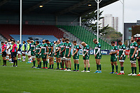 4th October 2020; Twickenham Stoop, London, England; Gallagher Premiership Rugby, London Irish versus Bristol Bears; London Irish players stand for a minutes silence for police officer and rugby fan Matiu Ratana who tragically was recently killed in Croydon
