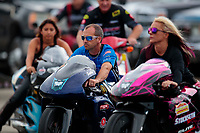 Aug 31, 2019; Clermont, IN, USA; NHRA pro stock motorcycle rider Scott Pollacheck during qualifying for the US Nationals at Lucas Oil Raceway. Mandatory Credit: Mark J. Rebilas-USA TODAY Sports