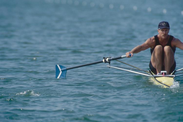 Rowing, man, single racing shell at the catch, Landon Carter, Pagosa Springs Rowing Club,