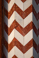 Agra, India.  Inlaid Red Sandstone Geometric Pattern in Stonework, North Pavilion, Gardens of the Itimad-ud-Dawlah.