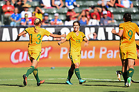 Carson, CA - Thursday August 03, 2017: Tameka Butt, Katrina Gorry during a 2017 Tournament of Nations match between the women's national teams of Australia (AUS) and Brazil (BRA) at the StubHub Center.