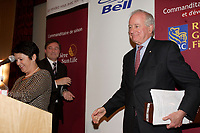 Montreal (QC) CANADA, April 2, 2007<br /> <br /> L. Yves Fortier, Chair of Ogilvy Renault at the podium of the Canadian Club of Montreal, Monday, April 2, 2007 , Saint-James Club of Montreal.<br /> <br />     Mr. Fortier was recently named the world's top arbitrator by The American<br /> Lawyer/Focus Europe. He was awarded this distinction based on surveys<br /> conducted among a wide range of law firms worldwide between January 2003 and<br /> April 2005.<br />     His experience as an Ambassador and Permanent Representative to the<br /> United Nations, where he was Canada's Chief Delegate to the United Nations<br /> General Assembly (1988-92) and to the Security Council (1989-90), make him the<br /> ideal person to speak to the Club on his chosen topic : Canada and the United Nations:<br />     Six decades of partnership<br /> <br /> <br /> <br /> photo (c)  Pierre Roussel - Images Distribution