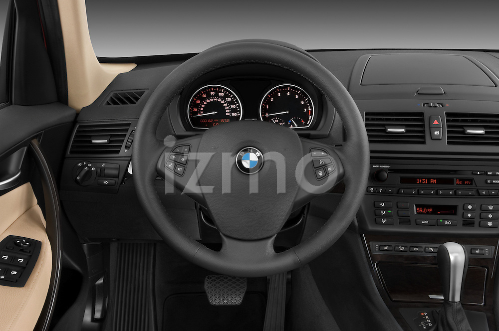 Steering wheel view of a 2008 BMW X3