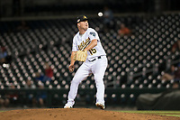 Mesa Solar Sox relief pitcher Jake Bray (15), of the Oakland Athletics organization, delivers a pitch during an Arizona Fall League game against the Scottsdale Scorpions at Sloan Park on October 10, 2018 in Mesa, Arizona. Scottsdale defeated Mesa 10-3. (Zachary Lucy/Four Seam Images)