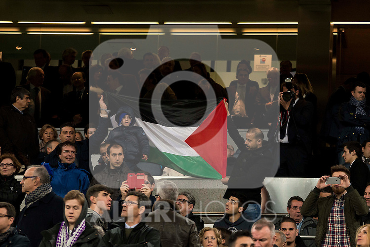 A Palestinian flag in the stands during the anthem of Real Madrid during Real Madrid and Sevilla FC during La Liga match. March 20,2016. (ALTERPHOTOS/Borja B.Hojas)