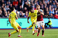 3rd October 2021;   City of London Stadium, London, England; EPL Premier League football, West Ham versus Brentford; Tomas Soucek of West Ham United fouls Frank Onyeka of Brentford