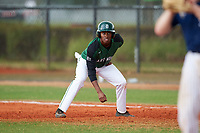Dartmouth Big Green shortstop Blake Crossing (13) leads off first base during a game against the Southern Maine Huskies on March 23, 2017 at Lake Myrtle Park in Auburndale, Florida.  Dartmouth defeated Southern Maine 9-1.  (Mike Janes/Four Seam Images)