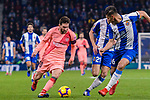 Lionel Messi of FC Barcelona (L) in action during the La Liga 2018-19 match between RDC Espanyol and FC Barcelona at Camp Nou on 08 December 2018 in Barcelona, Spain. Photo by Vicens Gimenez / Power Sport Images